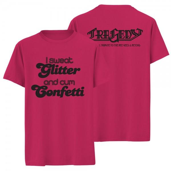 T-Shirt I sweat Glitter fuchsia