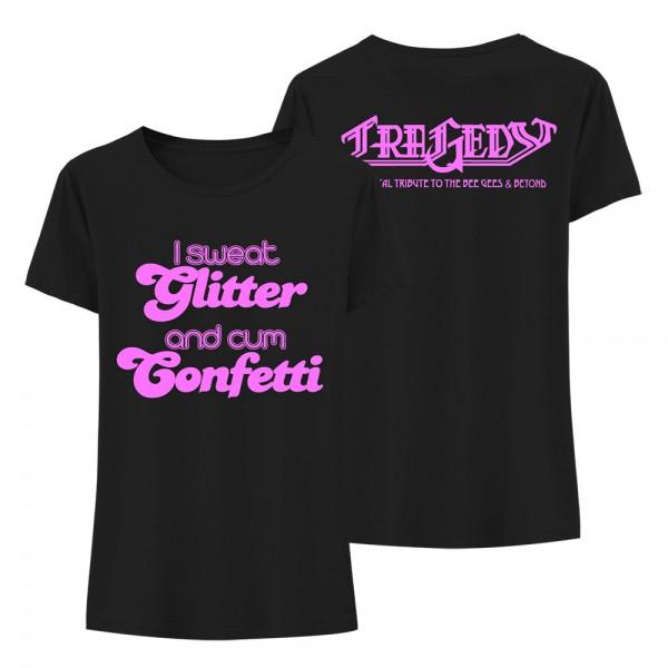 T-Shirt (w) I sweat Glitter black